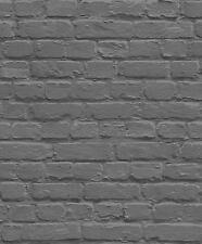 BLACK SILVER GREY WALL BRICK WALL UGEPA QUALITY FEATUR DESIGNER WALLPAPER L22629
