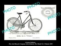 OLD HISTORIC PHOTO OF GOSHEN INDIANA, ARIEL BICYCLE Co AD MODEL 5 TITANIA c1895