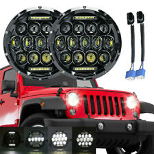 Pair 7'' Round LED Headlights Projector Fit Jeep Wrangler Unlimited Sport JK JL