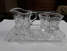 Pinwheel Vintage Creamer, Sugar With Dish. Heavy Clear Cut Glass.Very Attractive