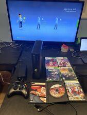 Microsoft Xbox 360 Slim S 250GB Black Console w/ Cords & Controller + 6 Games