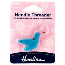 Hemline Hummingbird Needle Threader With Cutting Blade Hand Sewing Haberdashery
