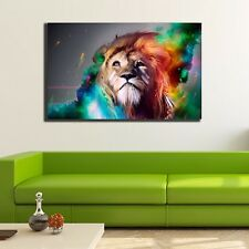 Abstract Color Lion Stretched Canvas Print Framed Wall Art Home Decor Painting
