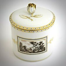 Richard Ginori Fiesole Covered Jar Vintage Porcelain Trinket Italian Scene White