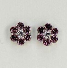 14k White Gold Flower Stud Earrings with Screw Back y