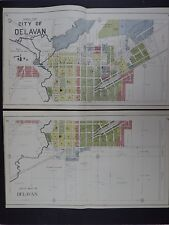 Wisconsin Walworth County Plat Map 1921 City of Delavan 2-Double Pages L21#07