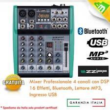 MIXER AUDIO AMPLIFICATO 4 CANALI BLUETOOTH USB SD CARD MP3 - DSP CON 16 EFFETTI