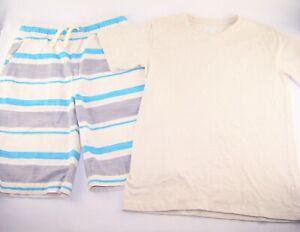 Boys CHILDREN'S PLACE striped shorts beige t shirt 10 12 outfit summer blue set
