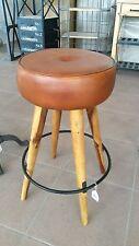 Sgabello vintage stile industriale in legno con seduta in pelle marrone