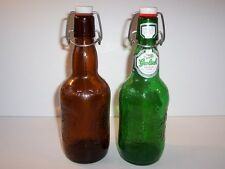 Vtg Grolsch Beer Lager 2 Green / Brown Bottles Glass Empty Swing Top Home Brew