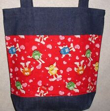NEW Large Denim Tote Bag Handmade/w M&M'S® Valentine Characters Licensed Fabric