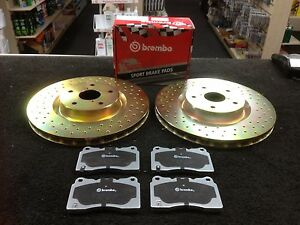 FOR SUBARU IMPREZA WR1 BREMBO BRAKE DISCS DRILLED & BREMBO PADS FRONT