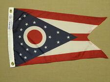 """Ohio 1902 State Buckeye Indoor Outdoor Dyed Nylon Boat Flag Grommets 12"""" X 18"""""""
