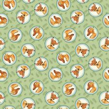 Disney Fabric - Bambi - Badges - Green - 100% Cotton