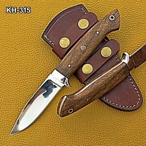 KH-315 Custom Handmade 1095 Steel Hunting Knife with Rose Wood Handle