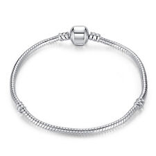 18cm Hot 925 Silver Snake Chain Bracelets Bangle Fit European Beads Charm