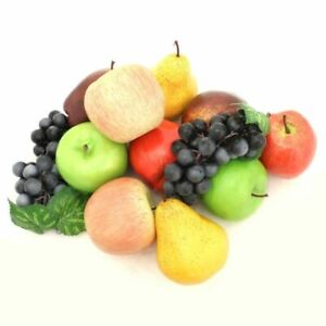 ALEKO Artificial Lifelike Plastic Home Decor Fake Fruits Lot of 12 Apples Grapes