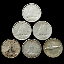 🇨🇦*** CANADA LOT OF SILVER 10 CENTS 1939 1942 1944 1963 1965 1967 ***