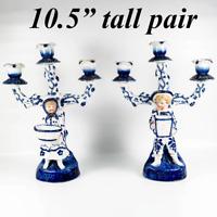 Antique Cold Paste Porcelain French 3-Branch Candelabra Pair, Figural Blue White