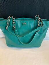 Vintage COACH Madison Leather Turquoise Green Handbag Satchel #20466
