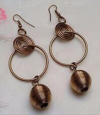 BIJOU VINTAGE BOUCLES D'OREILLES PENDANTES spirale anneau métal couleur or T156