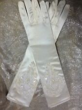 CREAM IVORY LADIES LONG SATIN GLOVES WITH PEARL BEAD DETAILS IDEAL WEDDING, PROM