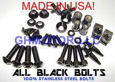 08 09 10 11 12 NINJA EX250 250R COMPLETE ALL BLACK FAIRING BOLTS FASTENERS KIT