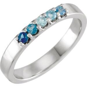 Sterling Silver Blue Multi Gemstone Midi Knuckle Ring