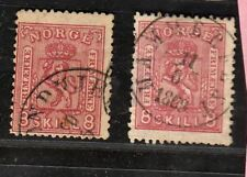 NORWAY STAMP #15A+B USED , CV 380 EURO