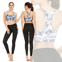Women Yoga Set Sports Bra Stretch Pants Leggings Gym Running Outfit Fitness Suit