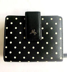 Ladies Black and Lemon Polkadot Visconti Leather Wallet Purse