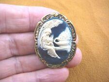 (CS56-15) WOMAN CHERUB navy ivory CAMEO leaf brass pin Pendant Jewelry brooch