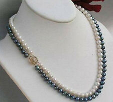 Genuine 2Rows 8-9mm Natural Black & White Akoya Cultured Pearl Necklace