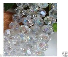 8mm 70pc White Jewelry Faceted Rondelle glass crystal Loose beads