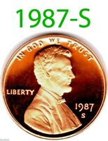 1987-S LINCOLN BRIGHT CLEAR UN-CIRCULATED PROOF PENNY.===BU=====================