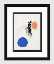 """Colorful 1961 Joan MIRO COLOR Lithograph """"Blue and Orange"""" GALLERY FRAMED COA"""