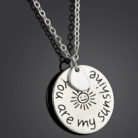 Silver Tone YOU ARE MY SUNSHINE Romantic Love Words Pendant Necklace Chain