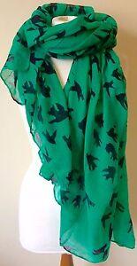 BNWT Green Black Swallow Bird Print 180cm x 110cm Cute Sarong Scarf Shawl Hijab