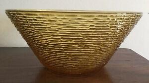 Beautiful Retro/Vintage Large Amber Glass Bowl