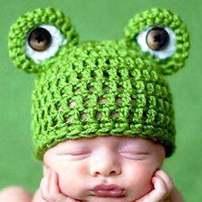 Lovely Baby Infant Frog Hat Costume  Handmade Crochets Green Cap