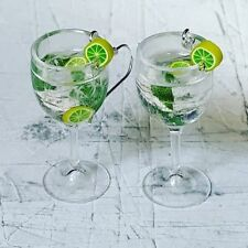 Handmade MINI MOJITO GLASS EARRINGS run DRINK cocktail MINIATURE lime MINT ice