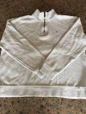Tommy Hilfiger Mens Gray 1/4 Zip Ribbed Trim Pullover Shirt Size XL Flag Logo
