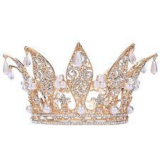"Santfe 3"" Height Leaf Crystal Rhinestone Faux Pearl Full Crown Tiara Gold Plated"
