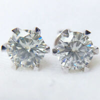 1CTW 5MM Super White Moissanite Diamond Stud Push Earrings 14k White Gold GP