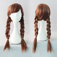 Wigs,brun longue raide santé cosplay Costume cheveux tresses perruque