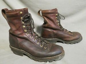 MENS CHIPPEWA BROWN LEATHER HIKING FARM WORK BOOTS US SIZE 9.5 W