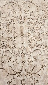 Bohemian Antique 1930-1940's Distressed Wool Pile Oushak Area Rug 6x9ft