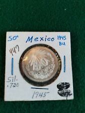 1945 Mexico Silver BU 50 Centavos Coin