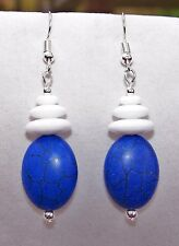 Handmade BLUE HOWLITE STONE & WHITE MILK GLASS DISK BEADS DROP DANGLE EARRINGS