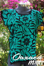 009 Womens Mexican Huipil Hand Embroidered Blouse Oaxaca Green Boho Hippie